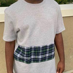 Longline short sleeve shirt with plaid stripe
